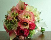 Pink, Green, Ivory Silk Flower Bridal Bouquet & Boutonniere, Calla Lilies, Ranunculus, Roses, Hydrangea, Bridal, Bridesmaid - Blushing