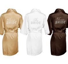Our Rhinestone Bridal Party Robes with Big Bling are adorned with the style of your choice in sparkling rhinestones. Personalize your robe with your choice of robe color and rhinestone color. Bridal Party Robes, Gifts For Wedding Party, Party Gifts, Bridesmaid Robes, Wedding Bridesmaids, Purple Wedding, Dream Wedding, Wedding 2017, Marrying My Best Friend