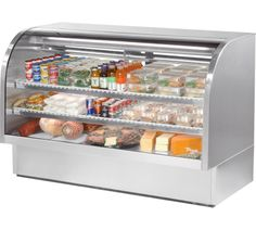 """TRUE Curved Glass Deli Case - TCGG-72-S    Curved Glass Deli Case, 72-1/8""""L, service type, self-contained refrig system, gravity coil 55% RH, envir. 75°F, (2) adjustable wire shelves, fluorescent interior lights, sliding """"Low-E"""" thermal glass rear doors, s/s interior & exterior, s/s floor with coved corners, 3/4 hp, NSF approved"""