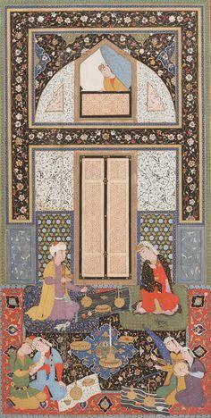Double-page painting in the Haft Manzar (Seven visages) by Hatifi (d.1521), Uzbekistan, 1538   F1956.14