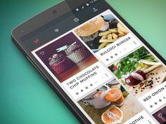 Signa Android UI Design Community — Food & Cooking application concept by Lydia Selimalhigazi Android Design, Android Ui, Cooking App, Cooking Recipes, Ux Design, Material Design Examples, Mobile Ui Design, Mobile App Ui, Menu Restaurant
