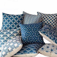 saigaiha and asanoha Japanese geometric patterns for cushions