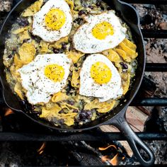 Chilaquiles with Blistered Tomatillo Salsa and Eggs Gourmet Camping Recipes for Your Glamping Adventure Croissant Sandwich, Bean Recipes, Brunch Recipes, Breakfast Recipes, Meatless Recipes, Breakfast Dishes, Summer Recipes, Breakfast Ideas, Dinner Recipes