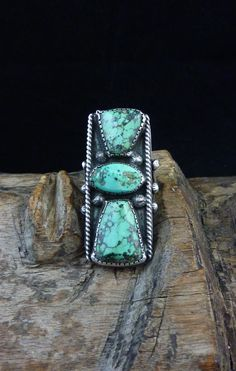 Size 7 Vintage Navajo Sterling Silver Rectangular Ring w 3 hand-cut, STUNNING Morenci Turquoise Stones! Elegant AND Primitive Old Ring!