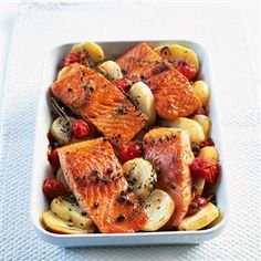 Mediterranean salmon recipe. This Mediterranean salmon dish is excellent because of the mix of lemon, garlic and capers.