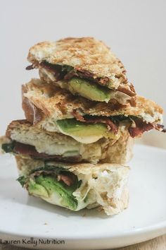 Grilled Jarlsberg with Avocado Spinach and Bacon from Lauren Kelly Nutrition
