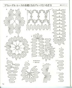 Various joining diagrams for Bruges Lace Freeform Crochet, Crochet Diagram, Crochet Chart, Thread Crochet, Filet Crochet, Irish Crochet, Crochet Motif, Crochet Doilies, Crochet Flowers