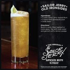Sailor Jerry Old Ironsides. Spiced rum, pineapple juice, soda water, lemon wedge. Drink recipe. Sailor Jerry Twitter page