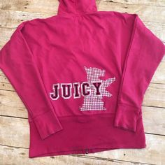 Juicy Couture Hoodie! Raglan sleeve hoodie by JC. Hot pink with silver bling. The raglan sleeves give it a little roomier fit. Bust size is 23 inches across. Very good used condition. Juicy Couture Tops Sweatshirts & Hoodies