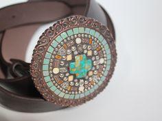 Mosaic Belt Buckle by Sally Kinsey  www.sallymays.co.nr