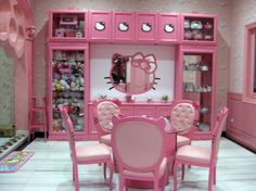 Sweet Hello Kitty House with Pink Interior Decoration : Sweet Hello Kitty House Pink Side Chairs Round Glass Dining Table