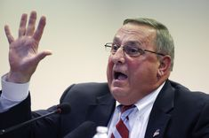 Gov. Paul LePage speaks at a town hall meeting Wednesday, Oct. 21, 2015, in Auburn, Maine. The Republican governor railed against Question 1 on November's statewide ballot, saying the proposed expansion of Maine's public campaign finance system will not r
