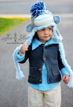 Handmade Crochet Icy Blue Sock Monkey Hat with Mohawk for all ages    www.irarott.com