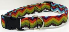Earth Tones Chevron  Printed Handmade Dog Collar by GoneDoggie