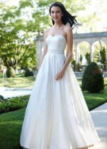 David's Bridal Wedding Dress: Strapless Satin A-Line with Beaded Waistband Style WG3389