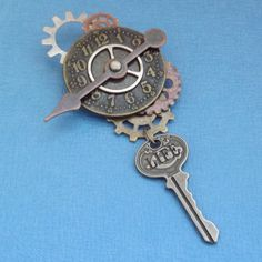 Life Key Steampunk Clock Face Brooch with Gears and Game Spinners all Metal Industrial Chic