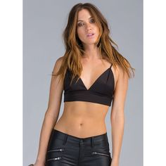 Assets On Display Strappy Bustier Top (£12) ❤ liked on Polyvore featuring tops, black, triangle tops, plunge crop top, open back tops, bustier tops and triangle crop top