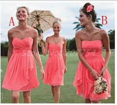 Strapless Coral Bridesmaids Dresses Pleat Cheap Bridesmaids Dress Short  Wedding Party Dress 2014 New Bridesmaid Dress $59.99