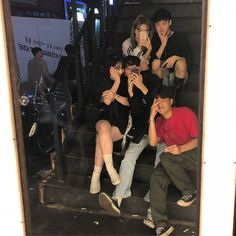 """""""These are the best siblings I never had. I even bought everyone boba and ice cream because I love them lots~"""" Isabelle, Matthew, Marlon, Mariel, Mendel Ulzzang Couple, Ulzzang Girl, Korean Best Friends, Guy Friends, 3 Boys, Korean Couple, Korean Aesthetic, Girly Pictures, Friend Photos"""