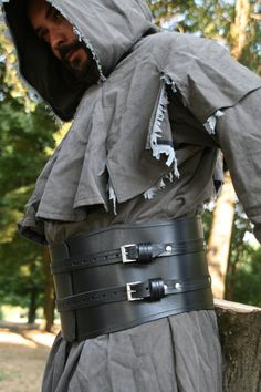 MADE TO ORDER  Leather belt waist black buckle larp wide