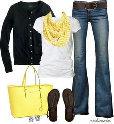 Where my yellow scarf, white tee and jeans
