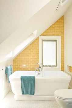 Yellow and Turquoise Bathroom eclectic bathroom -- this yellow tile is charming Small Attic Bathroom, Eclectic Bathroom, Upstairs Bathrooms, Master Bathrooms, Loft Bathroom, Bathroom Interior, Luxury Bathrooms, Downstairs Bathroom, Small Bathrooms