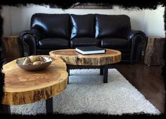 black leather sofa large modern tree trunk coffee tables white wool area rug dark toned wood floors tree trunk side tables of Fascinating and Creative Tree Trunk Table Ideas for Indoor - Outdoor Use