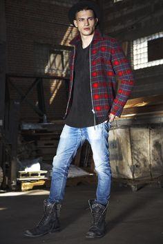 Saint Laurent's wool jacket, T by Alexander Wang's wool sweater and Baldwin Denim's cotton denim jeans. Stetson hat. [Photo by Renie Saliba]