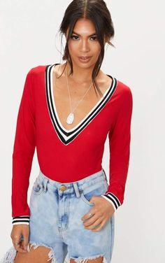 23e366c8f4a Red Long Sleeve Sport Trim V Neck Thong Bodysuit