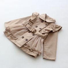 2y,3y,4y,5y,6y toddler girl beiges jacket with belt