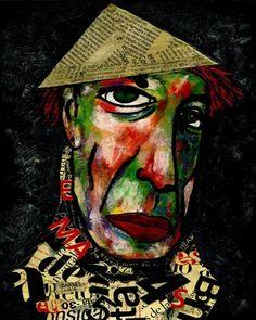 "Saatchi Art Artist CARMEN LUNA; Painting, ""36-Retratos Expresionistas. Vincent II."" #art http://www.saatchiart.com/art-collection/Painting-Assemblage-Collage/Expressionist-Portrait/71968/51263/view"