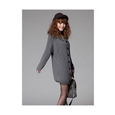 Buy New Women Grey Loose Thicken Knitting and Wool Blends Hoodie Long... via Polyvore