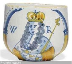 DELFT - PORTRAIT CAUDLE-CUP OF WILLIAM III Porcelain Ceramics, Ceramic Pottery, Norfolk House, Defender Of The Faith, William And Mary, Blue China, Victoria And Albert Museum, Delft, Earthenware