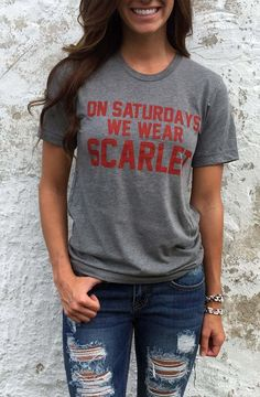 """On Saturdays We Wear Scarlet"" T-Shirt"