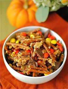 Snack mix with Reeses pieces, pretzels, and chocolate --- great for Fall, Halloween or any time!