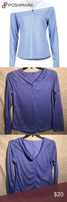 Marmot Women's Raena Purple Hoodie Size Medium Marmot Womens Raena Hoodie Size Medium   Armpit to armpit 18 Length Front 23 1/2 Length Back 25 1/2 Color Dusty Denim Style # 850147 UPF 20 Quick Drying Wicking Adjustable Sleeves 3 Button on Front Nylon/Polyester/Elastane   Bin A13 Marmot Jackets & Coats