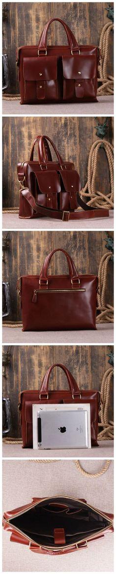 Dark Color Leather Briefcase Messenger Laptop Bag 7001R