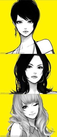 Different female faces