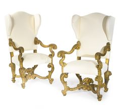 A pair of Italian Baroque carved giltwood armchairs | Lot | Sotheby's