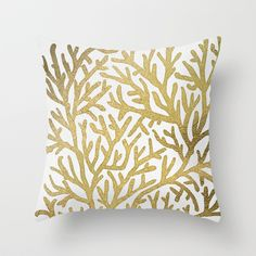 Gold Coral Throw Pillow by Cat Coquillette - $20.00