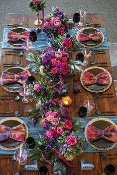 Wedding Ideas Bold colors farm tables and black china make for a fabulous tablescape Photo Lifelong Photography Venue Isla Del Sol Yacht Country Club Fiesta Party Decorations, Wedding Decorations, Table Decorations, Colorful Wedding Centerpieces, Everyday Centerpiece, Summer Centerpieces, Tall Centerpiece, Centrepieces, Decoration Evenementielle