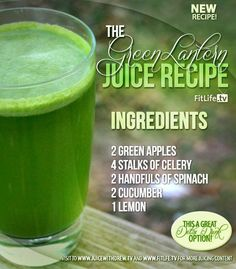 The Green Lantern Juice This is a great detox drink.. anytime, anywhere! #apple #celery #spinach #cucumber #lemon