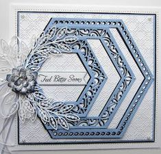 Morning all! I have been playing with the hexagons for today& card. I started with a piece of coconut white card and embos. Hexagon Cards, Spellbinders Cards, Die Cut Cards, Get Well Cards, Handmade Birthday Cards, Card Maker, Paper Cards, Flower Cards, Scrapbook Cards