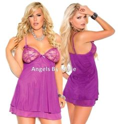 Sexy Womens and Curvy Girls Womens Plus Chemise Nightie Lingerie. Bow accents on this fun and flirty Chemise Nightie. High End Glamour Purple Mesh double layered chemise short gown with. Sophisticated elegance by Angels By Millie. | eBay!