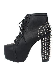 Black Punk Style Studded Platform Heeled Boots