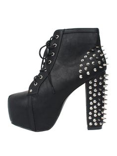 Black Punk Style Studded Platform Heeled Boots