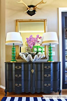 Love the redo of the chest and lamp...not to mention the color!
