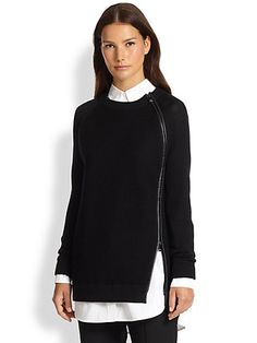 Vince - Leather-Trimmed Zip Sweater - Saks.com