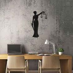 Symbol of Justice Lady design which is called Themis. This is a laser cutting product.The surface is black texture powder coating. Law Office Design, Law Office Decor, Modern Office Design, Office Interior Design, Office Gifts, Office Interiors, Office Designs, Office Art, Post Office