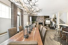chandelier Living Dining Combo, Living Room, Cozy House, Great Rooms, Chandelier, Classy, Flooring, Contemporary, Table